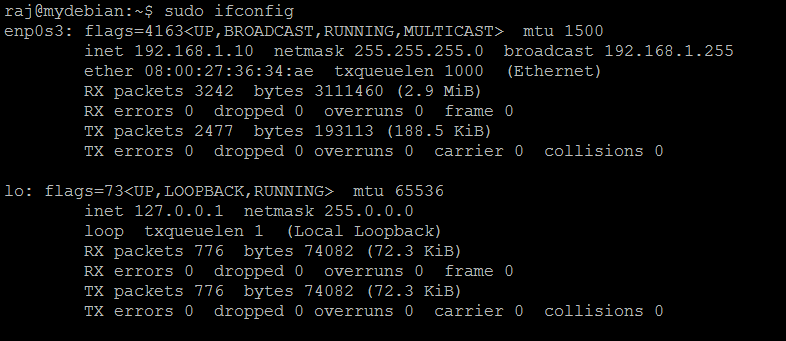 在Debian 9上禁用IPv6  - 禁用IPv6后输出ifconfig命令