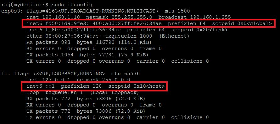 在Debian 9上禁用IPv6  - 在禁用IPv6之前输出ifconfig命令